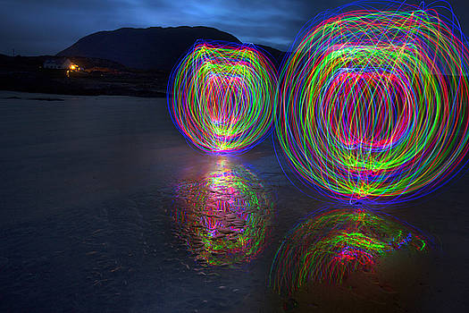 Dominick Moloney - light orbs beach, in, Galway, Ireland,