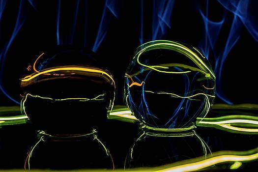 Light painted glass ball abstract by Sven Brogren