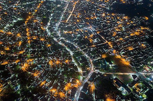 Lighted buildings from above by Pradeep Raja PRINTS