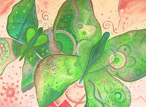 Lighthearted In Green On Red by Helena Tiainen