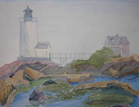 Lighthhouse On A Misty Morning by Joan Wallace Reeves