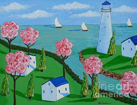 Lighthouse and Cottages by Karleen Kareem