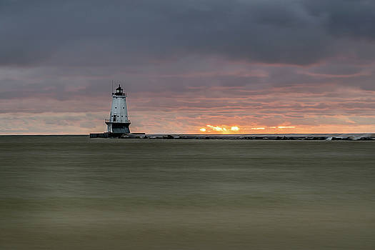 Lighthouse and Sunset by Lester Plank