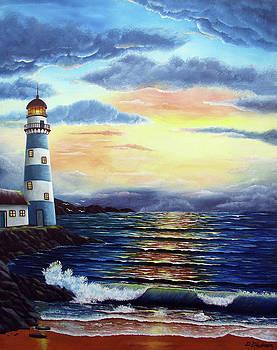 Lighthouse at sunset by Debra Dickson