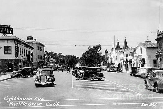 Lighthouse Avenue downtown Pacific Grove, Calif. 1935  by California Views Mr Pat Hathaway Archives