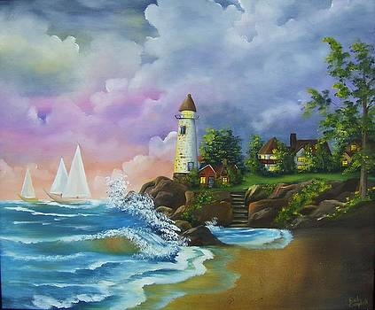 Lighthouse by the Village by Debra Campbell