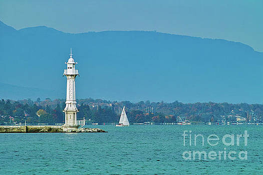 Lighthouse Geneva Switzerland Europe by Kimberly Blom-Roemer