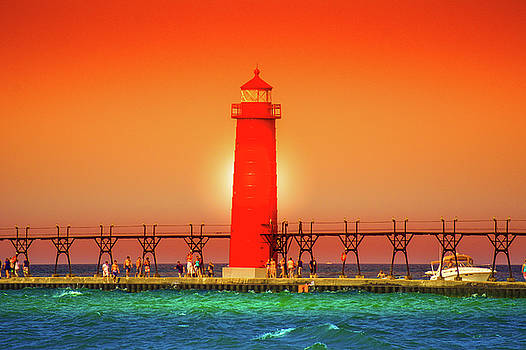 Lighthouse Grand Haven Sunset, Michigan by Art Spectrum