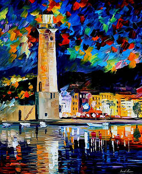 Lighthouse In Crete - PALETTE KNIFE Oil Painting On Canvas By Leonid Afremov by Leonid Afremov