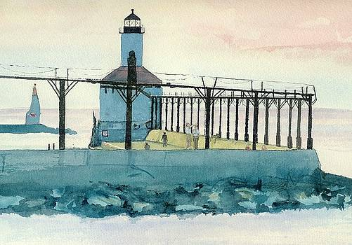 Lighthouse in Michigan City by Lynn Babineau
