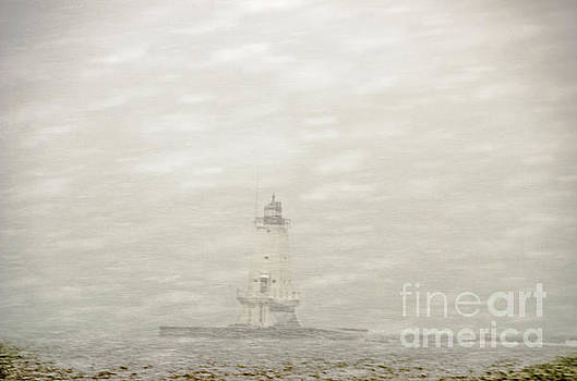 Lighthouse in Snowstorm by Sue Smith