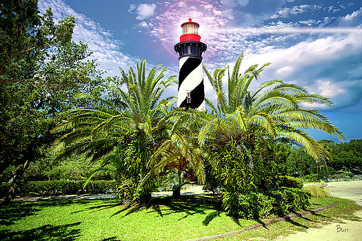 Lighthouse in the palms by Richard Burr