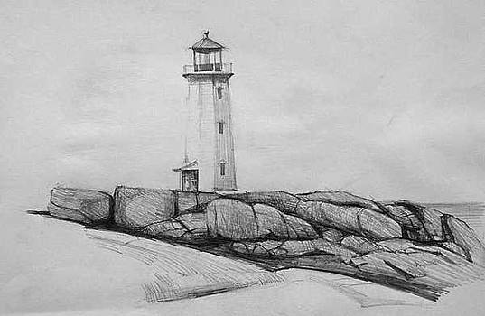 Lighthouse on Rocky Coast by William Hay