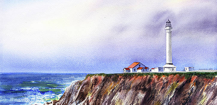 Lighthouse On The Cliff Watercolor by Irina Sztukowski