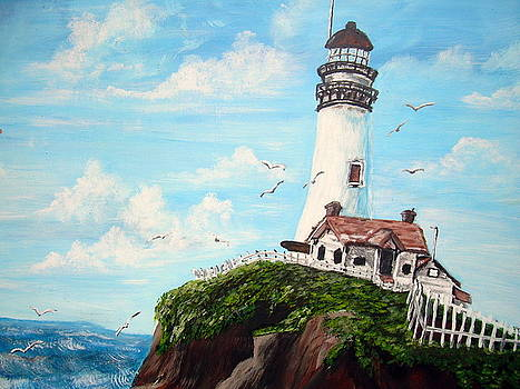 Lighthouse on the hill by Vickie Wooten