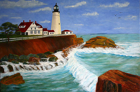 Lighthouse Seascape by Arno Clabaugh