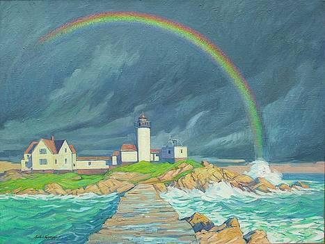 Lighthouse With Rainbow by Anton Kamp