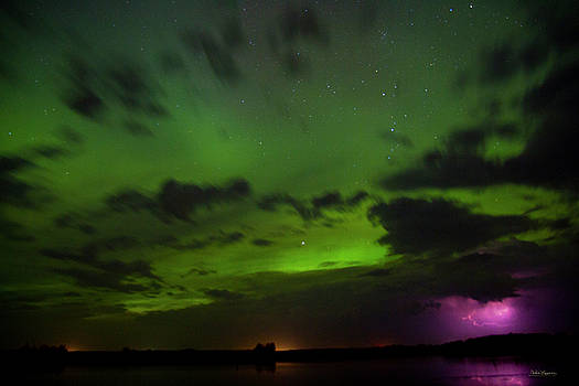 Lightning and Aurora Storm by Andrea Lawrence