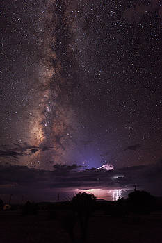 Lightning and Milky Way by Dennis Sprinkle