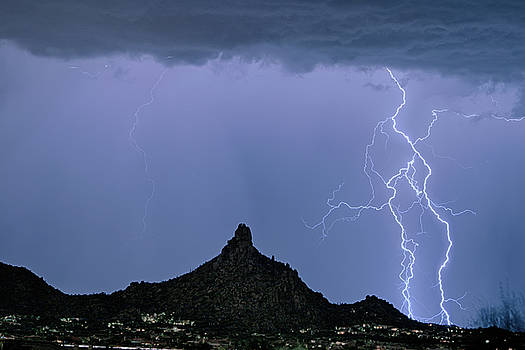 Lightning Bolts and Pinnacle Peak North Scottsdale Arizona by James BO Insogna