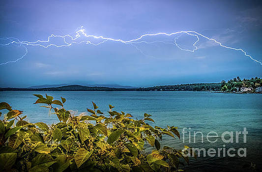 Lightning over Lake Winnipesaukee by Mim White