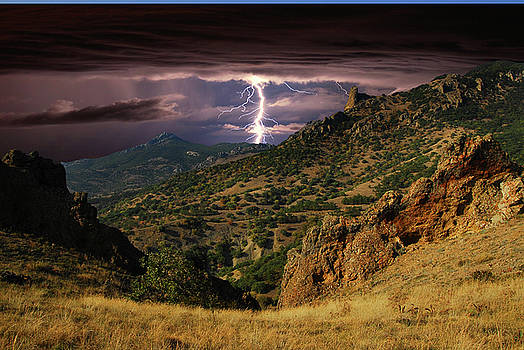 Lightning over the hills  by Yuri Hope