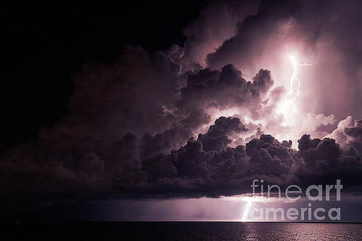 Lightning Storm Off Isla Mujeres by David Daniel