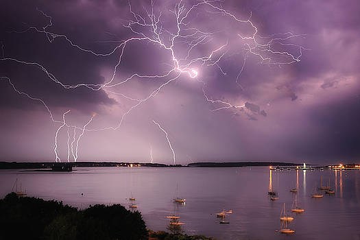 Lightning Storm over Casco Bay by Robbie George