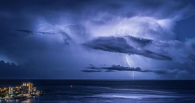 Lightning Strike At Waikiki by Joy McAdams
