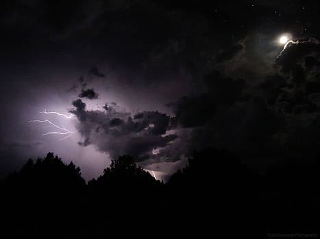 Lightning with Stars and Moon  by Todd Krasovetz