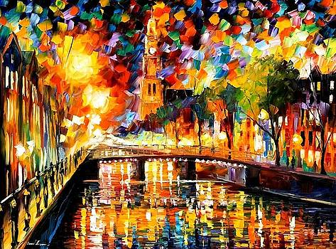 Lights And Shadows Of Amsterdam - PALETTE KNIFE Oil Painting On Canvas By Leonid Afremov by Leonid Afremov