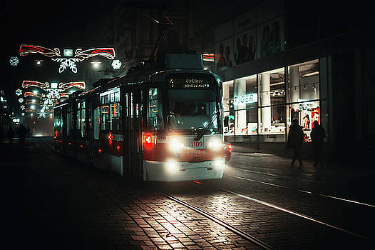 Lights of Night Tram by Jenny Rainbow