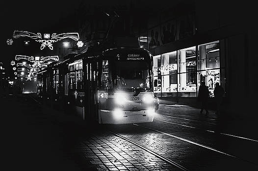 Lights of Night Tram. Black and White by Jenny Rainbow