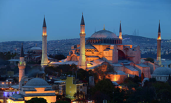Reimar Gaertner - Lights on Hagia Sophia and Firuz Aga Mosque at dusk in Istanbul