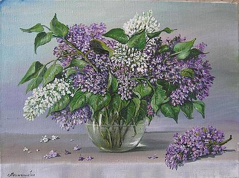 Lilac in glass pot by Alexandra Akinfieva