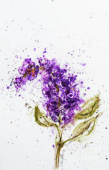 Lilac Stem Blossom watercolor by CheyAnne Sexton