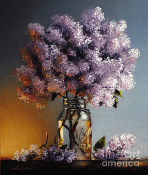 Lilacs In A Ball Jar by Lawrence Preston