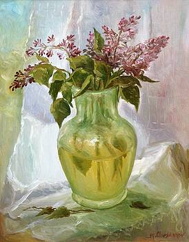 Lilacs in a Glass Vase by Michael Chesnakov