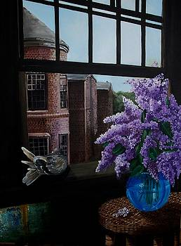 Lilacs in Blue Vase by Kathleen Romana