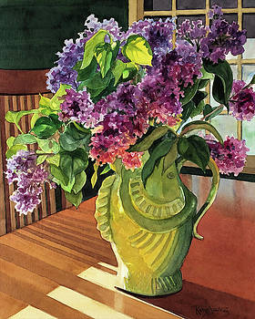 Lilacs in Fish Vase by Kathy Armstrong