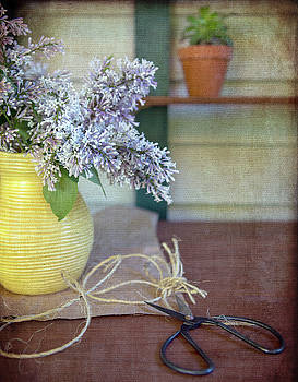 Lilacs in Yellow Vase by Rebecca Cozart