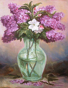 Lilacs with Apple Blossom by Michael Chesnakov
