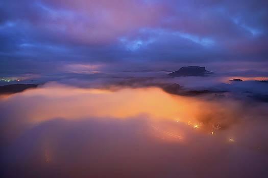 Lilienstein night view, Saxon Switzerland, Germany by Marek Kijevsky