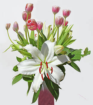 Lilies  And  Tulips by Carl Deaville