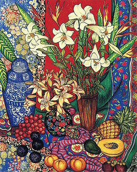 Lilies, Heliconias and Tropical Fruit by Richard Lee