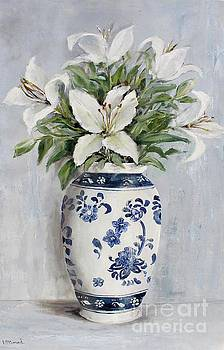 Lilies in Blue and White Vase by Gail McCormack