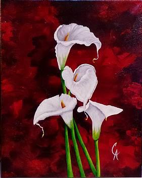 Lilies On Red by Carol Avants
