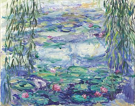 Lilies Over the Pond by Mary Sedici