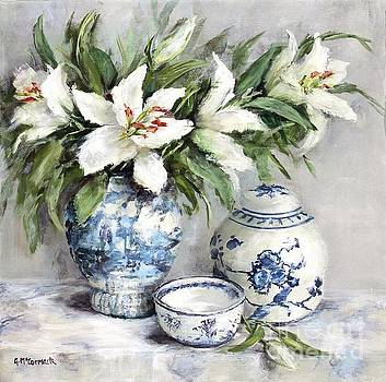 Lilies with Blue and White China by Gail McCormack