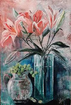 Liliums with grapes by Shirley Lennon